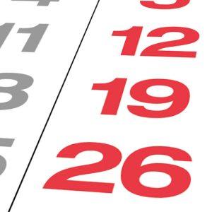 Sonn- und Feiertage in rot