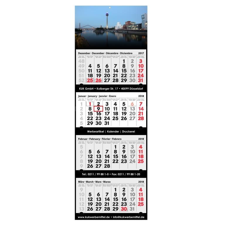4-Monatskalender 2018 mit Werbung