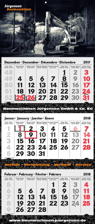 3-Monatskalender Jürgensen Baumaschinen