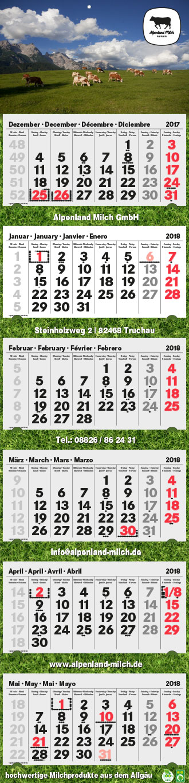 6-Monatskalender Alpenland Milch
