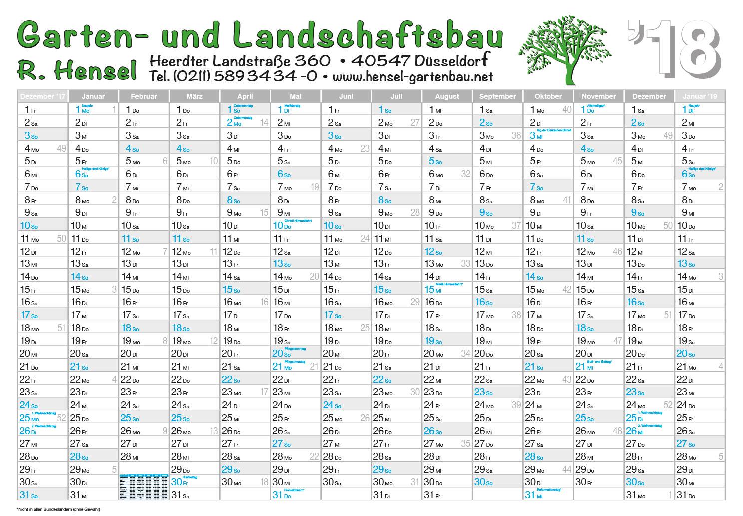 Referenz Wandplaner 2018 Garten u. Landschaftsbau Hensel