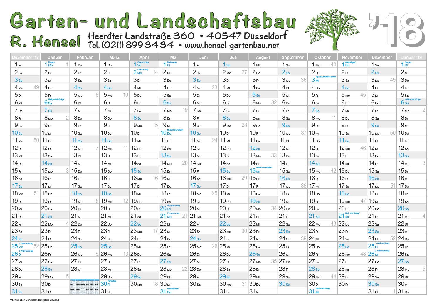 Referenz Wandplaner 2018 Garten u. Landschaftsbau